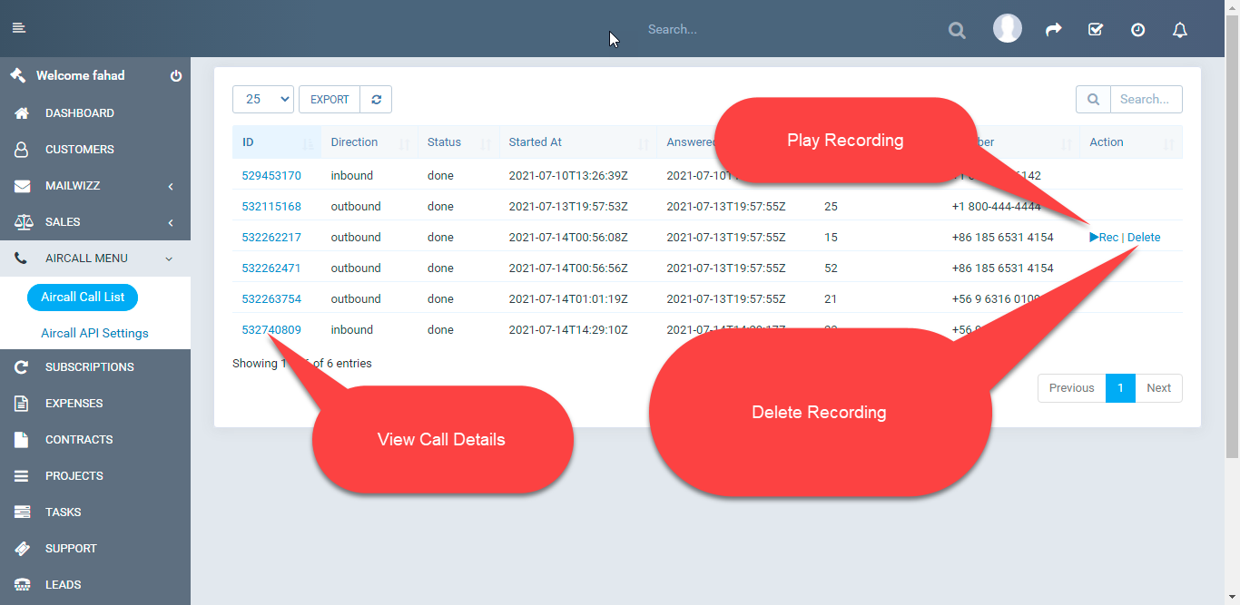 Aircall.io ® module for Perfexcrm - 1