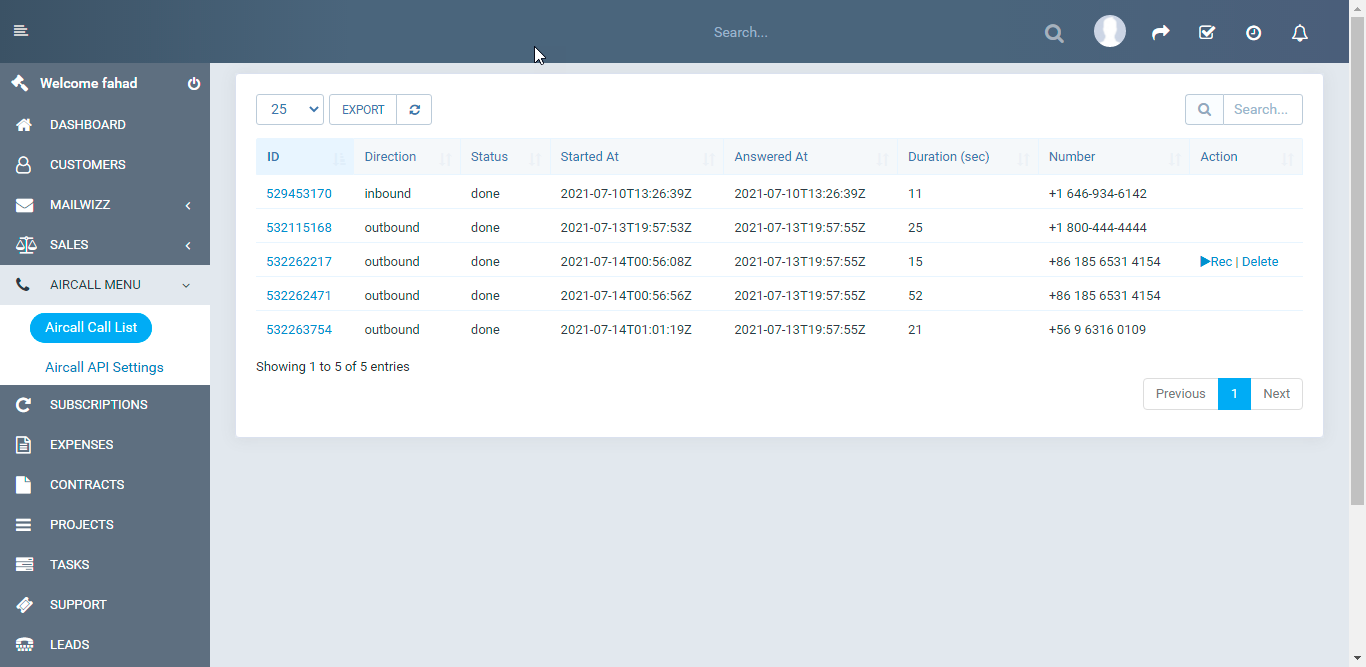 Aircall.io ® module for Perfexcrm - 2