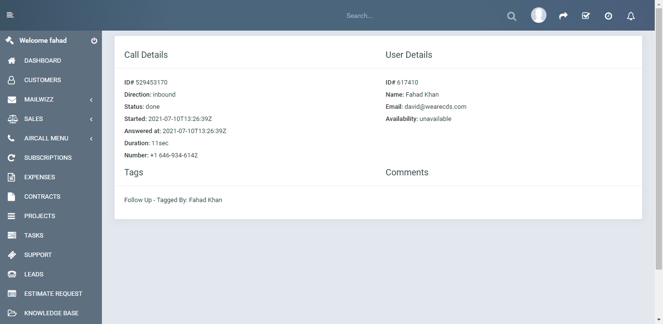 Aircall.io ® module for Perfexcrm - 3