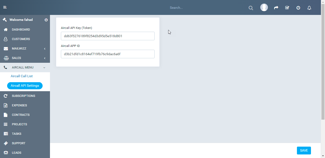 Aircall.io ® module for Perfexcrm - 4